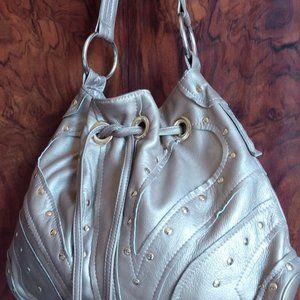 Le'Bulga Butterfly champagne  Leather Hobo Bag
